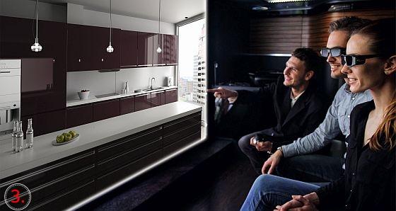 Inneneinrichtung des 3D-Küchenmobils